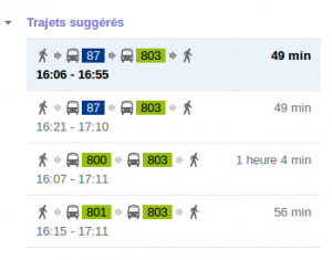 Estimation du trajet en bus
